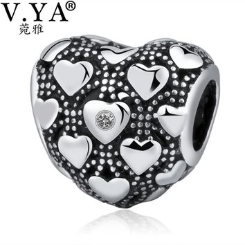 V.YA Valentine's Day Jewelry Charms fit for Pandora Bracelets Bangle Necklaces DIY Beads for jewelry Making