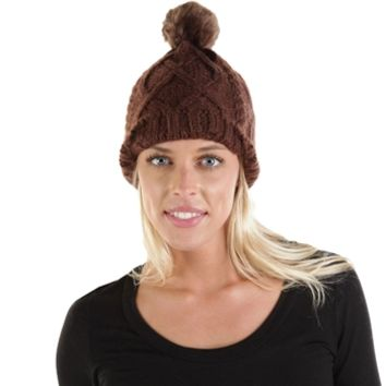 D&Y Juniors Cabled Hat with Pompom at Von Maur
