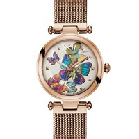 Gc Rose Gold-Tone Butterfly Analog Watch at Guess