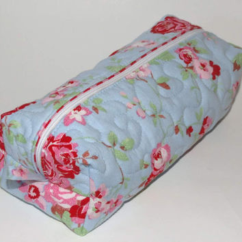 Quilted Boxy Zippered Pouch, Cosmetic Bag, Re-purposed Vintage Sheeting, Blue Pink