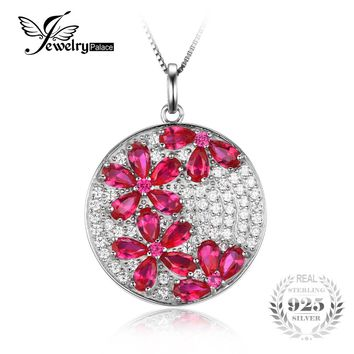 JewelryPalace Flower 4.5ct Created Ruby Pendant Genuine 925 Sterling Silver Women Fashion Wedding Jewelry Not Include a Chain
