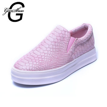 2017 New Womens Chunky Platforms Lace Up Vintage Flatforms Loafers Snake Pattern Slip On Creeper Shoes