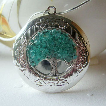 Birthstone Locket, January Birthstone, Birthstone Jewelry, Tree Locket, Round Silver Locket, Turquoise Locket