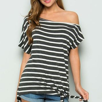 Casual Off Shoulder Striped Tie Top - Charcoal Gray