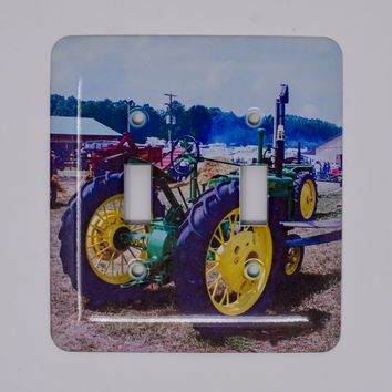 Vintage John Deere Tractor Light Switchplate, switch cover, Photograph