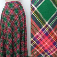 Vintage 60s 70s Fritzi Green Pink Tartan Plaid Full Maxi Skirt - Vtg 1970s Bohemian Hostess Gown Stepford Wife