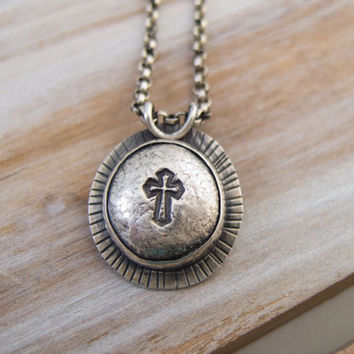Christian Jewelry, Mens Christian Necklace, Mens Cross Necklace, Cross Jewelry,  Mens Religious Jewelry, Christian Hand stamped Jewelry