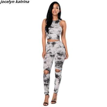 ESBU3S jocelyn katrina brand Sexy design ladies bodycon 2 piece sleeveless bodysuit women jumpsuit overalls rompers jumpsuit