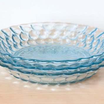 Anchor Hocking Blue Sapphire Bubble Pattern Depression Glass Bowls 7 3/4 inch (Set of 3)