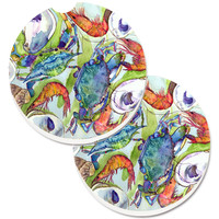 Crab Set of 2 Cup Holder Car Coasters 8547CARC