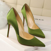 Simple Design High Heel Pointed Toe Sexy Hollow Out Slim Shoes [10761027919]