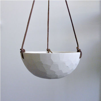 Geometric Hanging Porcelain Planter with Leather Cord Size Large