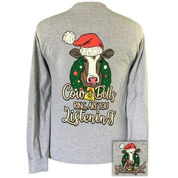 Girlie Girl Originals Preppy Cowbells Ring Holiday Long Sleeve T-Shirt