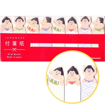 Quirky Sumo Wrestler Shaped Japan Post-it Index Sticky Bookmark Tabs | Cute Affordable Back To School Stationery