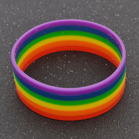 Colorful Silicone LGBT Rainbow Bracelet Wristband Gay Lesbian Pride Cuff Jewelry