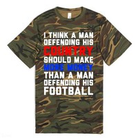 Defending His Country vs Football-Unisex Green T-Shirt
