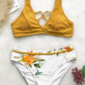 Fashion European Pinted Bikini Split Swimsuit [1405913432100]