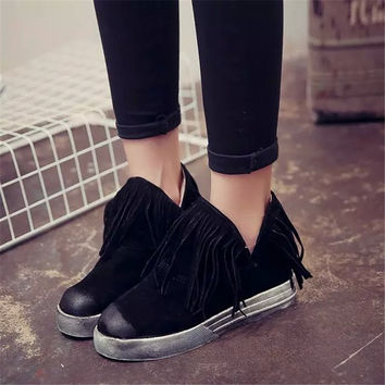 Womens Ladie Tassel Fringe Pull On Round Toe Suede Ankle Boots Patchwork Snow Shoes for Autumn Spring Winter US3-8