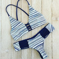 V-Neck Stripe Strap Bikini Set Swimsuit Swimwear