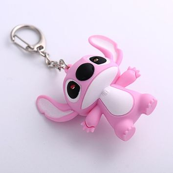 Anime Movie Cartoon Doll Voiced Sound LED KeyChain Animal Minions,Stitch, Owl,Pig,Cat,Hello Kitty KeyRing Car Trinket Key Chains
