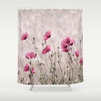 Poppy Pastell Pink Shower Curtain by Tanja Riedel