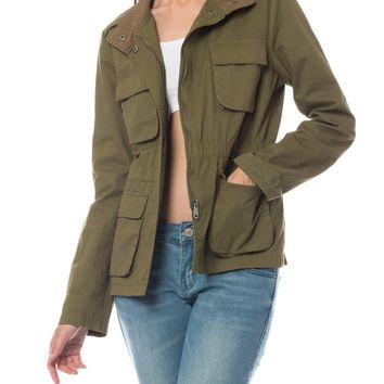 LE3NO Womens Classic Anorak Military Jacket with Drawstring
