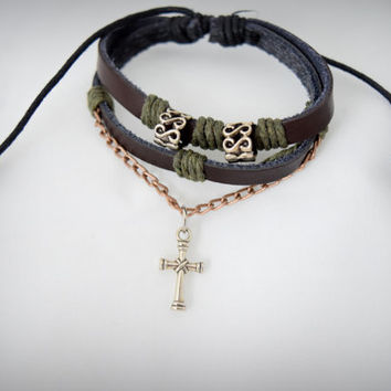 Cowhide Cross Leather Bracelet