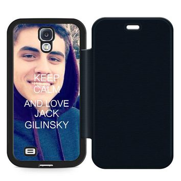Keep Calm and Love Jack Gilinsky Leather Wallet Flip Case Samsung Galaxy S4