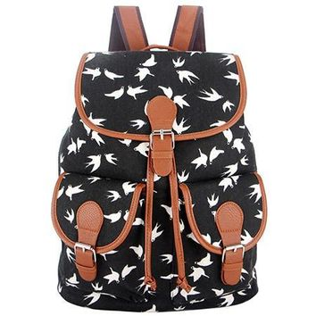 Black white  Vintage Rucksack Printing Canvas Women Backpack School Bag