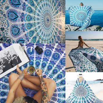 ☀ Happiness is a day at the Beach ☀Bohemia Geometric Tapestry Beach Table Cloth Decorative Wall Carpet Tapestries