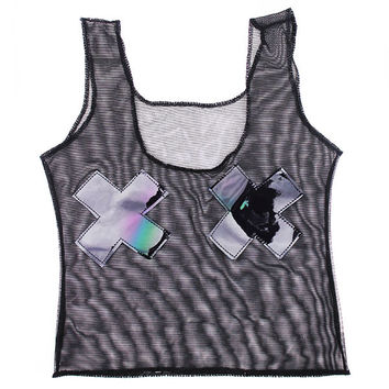 Black Mesh Holographic X Cropped Tank Top