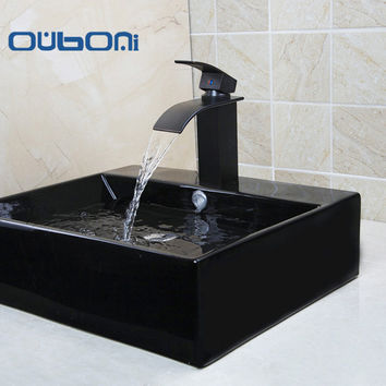 OUBONI Black Ceramic Vessel Bathroom Sink + Faucet