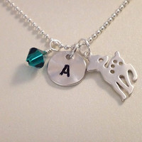 Mommy to be necklace with initial and birthstone, baby deer charm, bambi charm-newborn necklace, mothers necklace, mommy necklace