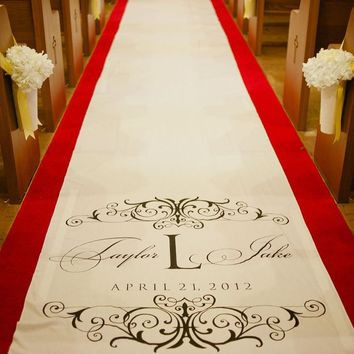 Custom Monogram Carpet, Wedding Aisle Runner,