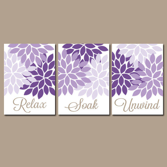 Purple Wall Decor For Bathroom : Bathroom wall art canvas or prints purple from trm design