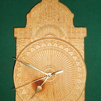 "Wooden wall clock - wooden carving. Home art, home decor. Size: 14""x7"""