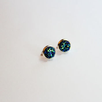 NEW - SMALL Blue/Green/Yellow Chunky Faux Druzy Earrings - Posts/Studs 8mm SMALL