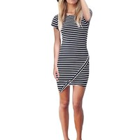 Kranda Summer Striped Casual Short Sleeve Party Evening Cocktail Short Mini Dress (Small, Navy Striped)