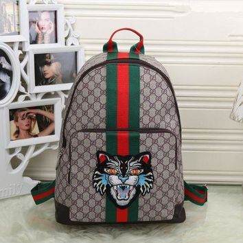 GXT7 Gucci' Unisex Casual Personality Fashion Classic Print Multicolor Stripe Cat Head Embroidery Backpack Large Capacity Travel Double Shoulder Bag