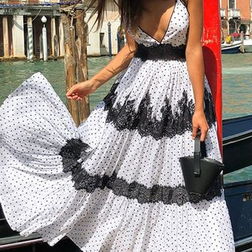 Embrace Life White Black Polka Dot Pattern Sleeveless Tie Spaghetti Straps Cross Wrap V Neck Lace Trim Casual Maxi Dress