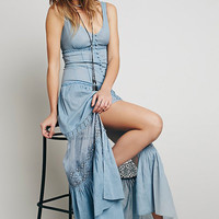 Blue Lace Sleeveless Maxi Dress