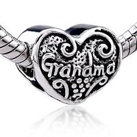 Mother's Day Gifts Heart Grandma Charm Bead - Pandora Beads & Charms Compatible