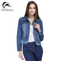 VooBuyLa Brand Fashion Jeans Jacket Women 2017 Plus Size 5XL 6XL Autumn Hand Brush Long Sleeve Stretch Short Denim Jacket Coat