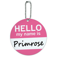Primrose Hello My Name Is Round ID Card Luggage Tag