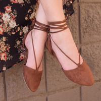 Antonia Lace Up Flats - Tan