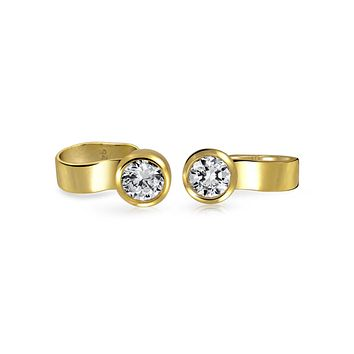 CZ Band Cartilage Ear Wrap Earrings 14K Gold Plated Sterling Silver