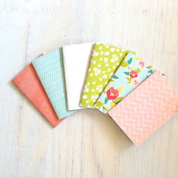 Notebooks: 6 Tiny Journals, Small Notebooks, Pastel, Blue, Green, Pink, Cute, For Her, Kids, Gift, Unique, Party Favors, Wedding, T133