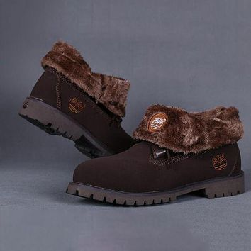 Timberland Rhubarb boots for Women Fashion Thick Lace-Up Waterproof Leather Boots Shoes Coffee G