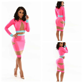 Pink with Mesh Cut-Out Long Sleeve Cropped Top and Bodycon Skirt