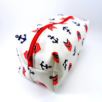 Anchor Navy  Makeup Bag, Boxy Pouch, Zippered, Cosmetic Case, Gadget Pencil Case, Under 15, For Her
